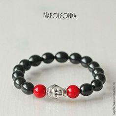 браслет для мужчины, мужские украшения, мужской браслет, браслет оберег, браслет натуральные камни, гагат натуральный, красный коралл, яркий браслет, Будда, буддизм, украшения с Буддой, браслет Будда