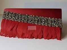 bolso fiesta plumas rojo