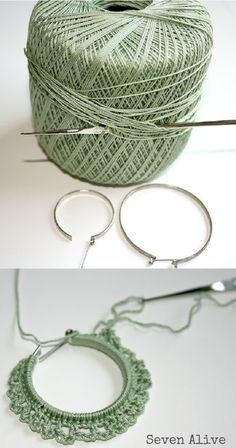 Crocheted earrings tutorial, but this idea could be used for all kinds of things/ interessante tutorial per orecchini a cerchio/Crocheted earrings tutorial, the perfect last-minute gift for a friend.Crocheted earrings tutorial( How funny to find this Thread Crochet, Love Crochet, Diy Crochet, Crochet Crafts, Crochet Flowers, Crochet Stitches, Crochet Projects, Tutorial Crochet, Diy Projects