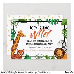 Two Wild Jungle Animal Safari Birthday Invitation 2nd Birthday Invitations, Baby Shower Invitations, Custom Invitations, Invites, Lion King Baby Shower, Animal Birthday, 2nd Birthday Parties, Birthday Gifts