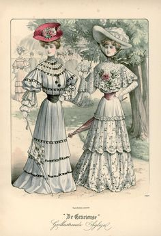 [De Gracieuse: Dutch fashion plates] Zomer-wandeltoiletten: Summer outfits for walking (August 1904). Edwardian fashion.