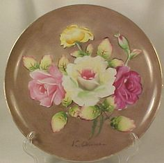 Artist-Signed-PINK-YELLOW-ROSES-PLATE-Occupied-Japan