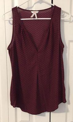 Candie's Sleeveless Blouse Top Shirt Burgundy Red w/ Black Print Size M  | eBay