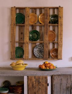 wood. pallet. dish. rack. hanging. rustic. natural. country. concrete. counter. industrial.