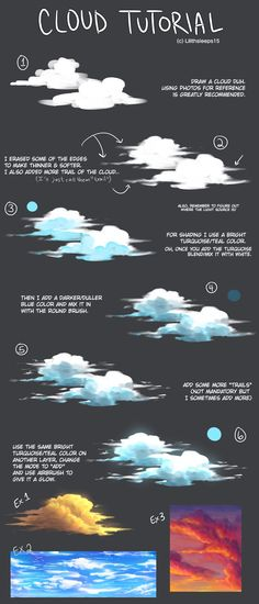 """art-res: """"lilithsleeps: """"I forgot to post this here. A Cloud tutorial that I made for meself. """" A delightful cloud tutorial! Digital Painting Tutorials, Digital Art Tutorial, Art Tutorials, Drawing Tutorials, Portrait Paintings, Art Paintings, Landscape Paintings, Acrylic Paintings, Abstract Landscape"""