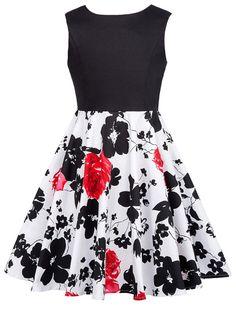 GRACE KARIN Girls Elastic Waist Pleated Floral Cotton A-Line Skirts Dresses