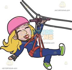 A Cheerful Zip Lining Woman: A woman with long blonde hair wearing a pink helmet dark blue overalls gray gloves apple green with white sneakers smiles while closing her eyes in delight as she zip lines her way to the other side Pink Helmet, Travel Clipart, Blue Overalls, Grey Gloves, White Sneakers, Caricature, Cheer, Dark Blue, Sports
