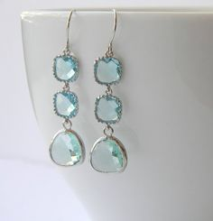 Aqua square drop earrings