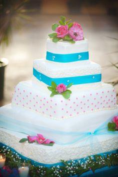 Turquoise and pink wedding cake   Wedding   Pinterest