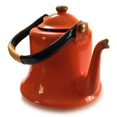 Vintage Orange Enamelware Teapot Kettle Japan Circa 1950s (2.645 RUB) ❤ liked on Polyvore featuring home, kitchen & dining, teapots, orange tea pot and orange teapot