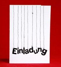Handgemalte Einladung Hängende Buchstaben