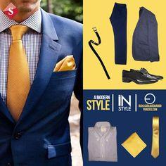 #FashionBySIMAN & Carlos Eduardo Paredes: Combina un traje azul con diversos tonos de amarillo o dorado, acentuarás tus outfits formales, además de lucir moderno y estilizado. Urban Style, Urban Fashion, Blazer, Jackets, Men, Men Formal, Yellow Accents, Fashion Trends