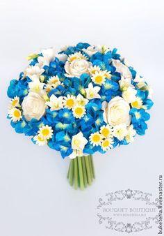 Синий букет невесты из полимерной глины - букет невесты,букет из глины
