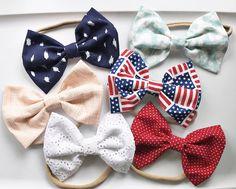 June's Set baby bow nylon headband  baby bow clips