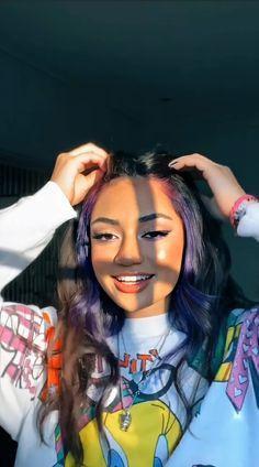 Hair Color Streaks, Hair Color Purple, Hair Highlights, Dye My Hair, New Hair, Hair Color Underneath, Tumbrl Girls, Skater Girl Outfits, Photocollage
