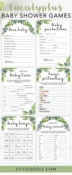 Printable baby shower games gender neutral by LittleSizzle. Eucalyptus games for a gender neutral baby shower with watercolor green leaves. Keep large groups of guests entertained AND create meaningful keepsakes for the new mom with this printable baby shower game package. The bundle includes popular and unique games like Baby Bingo, Emoji Pictionary, Baby Wishes and Name the baby animal. Simply download, print & play! #babyshowergames #DIY #printable #genderneutral #greenery #littlesizzle