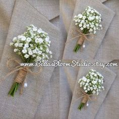 Image result for white flowers for wedding boutonnieres #WeddingIdeasForMen
