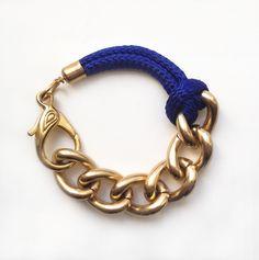 SE Bon Voyage Rope Bracelet: Cobalt Blue / Olympic Blue Rope Bracelet With Chunky Golden Chain. $34.00, via Etsy.