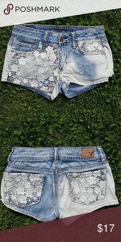 "Am. Eagle embellished lace shorts Delicate yet distresses look. Great condition! Flat waist 13"" Rise 7"" Inseam 2"" American Eagle Outfitters Shorts Jean Shorts"