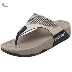 F, Damen Sandalen, Beige - Beige - Größe: 38