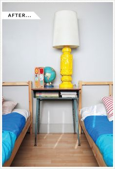 Love the desk used as a nightstand.  (from mer mag)