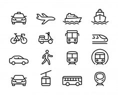 Set of public transportation thin line icons Premium Vector Design Mind Map, App Design, Icon Design, Mobile Design, Flat Design, Design Trends, Icon Set, Taxi Bus, Location Analysis