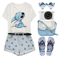 """""""Summer trip"""" by chengyijia ❤ liked on Polyvore featuring Disney, T-shirt & Jeans, Nikon and Dolce&Gabbana"""