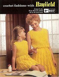 Hayfield Vintage Crochet Pattern 607, Mother & Daughter Dresses