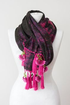 Tassel Scarf Crochet Scarf Winter Scarf Thick Scarf Cotton by Oxoo