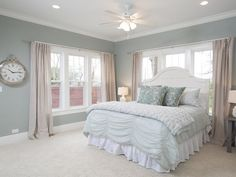 master bedroom paint colors The most popular fixer upper paint colors used on the show. See which colors Joanna used and find out why they're so popular. Home Bedroom, Bedroom Decor, Master Bedrooms, Bedroom Ideas, Bedroom Curtains, Bedroom Wall, Bedroom Headboards, Pink Curtains, Burlap Curtains