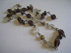 """Vintage Strand Necklace w Amethyst Clear Glass Gold Tone Beads as Is 18"""" 