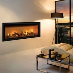 Gazco Studio 2 Glass Fronted Conventional Flue Gas Fire with Black Glass Lining