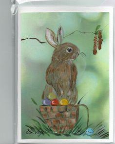 Grüße -  Osterhase ,  RESERVIERT( für Hildegard ?  - ein Designerstück von Vogelmalerin bei DaWanda