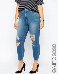 ASOS Curve | ASOS CURVE Ridley Skinny Jeans in Melody Wash with Jasmine Rips at ASOS