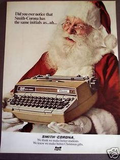 Vintage Christmas Ad ~ Santa Claus with a Smith-Corona Typewriter ~ 1971