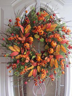 Pumpkin Wreath Fall Wreath Autumn Wreath Front Door
