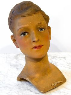 Wax Boy Mannequin Head by Siegel of Paris from relic on Ruby Lane