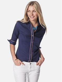 Milly Collection Piped Shirt | Banana Republic