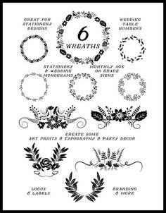 Laurel Clipart Chalkboard Clip Art in black and in white by Kelly Jane Creative https://www.etsy.com/listing/222768375