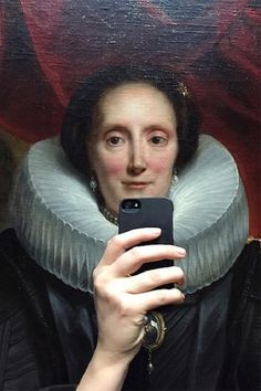 Clever Photos That Make It Look Like Painted Museum Portraits are Taking Selfies by Olivia Muus.