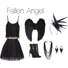 Fallen Angel D.I.Y Halloween Costume by snsd-kimmyyy on Polyvore featuring polyvore fashion style H&M MSGM Alaïa Oasis