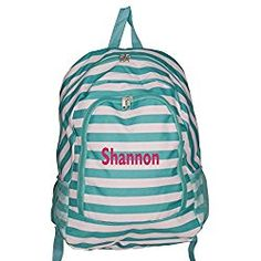 0d61e03642 High Fashion Print Medium Sized BackpackCustom Personalization Available ( Personalized Turquoise Stripe)