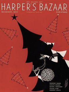 Harper& Bazaar Christmas cover by Erte, December 1933 Art Nouveau, Art Deco, Christmas Cover, Vintage Christmas, Xmas, Christmas Trees, Christmas Cards, Christmas Illustration, Vintage Magazines