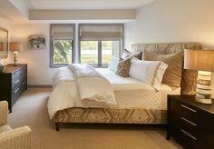 Neutral, mountain modern bedroom