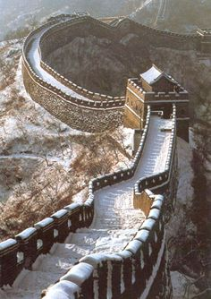 The Great Wall of China with some snow on it, beautiful!  Since childhood I've had a dream to go here.  Maybe some day...