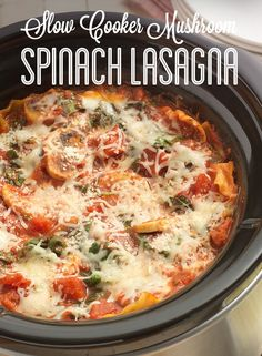 This delicious Slow Cooker Mushroom Spinach Lasagna is perfect for your next Meatless Monday! HuntsAtHome AD
