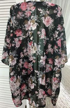 NEW ~ Plus Size 1X Black Pink Rose Floral Boho Open Duster Kimono #Dizzigal #Kimono #AnyOccasion