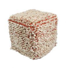 "Modern  Red Cube Shape Wool (16""x18""x18"") Pouf"