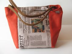 newspaper print handbag orange tangerine shoulder by LIGONbyRuthi, $69.00