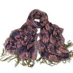Vibrant jewel colours of blue pink and purple are used in a striking circle print Warm and cosy ruched scarf perfect for Winter Size when unstretched